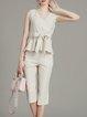Apricot Simple Bow V Neck Cotton Linen Two Piece Jumpsuit