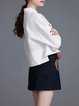 Shirt Collar Cotton-blend Long Sleeve Embroidered Casual Two Piece Mini Dress