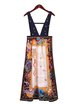 Multicolor A-line Vintage Printed Overall Maxi Dress
