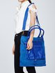 Blue Cowhide Leather Medium Casual Tote