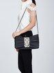 Black Casual Leather Magnetic Shoulder Bag