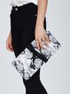 Black Magnetic Cowhide Leather Statement Clutch