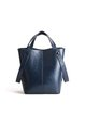 Dark Blue Small Cowhide Leather Casual Shoulder Bag
