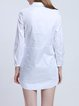 Shirt Collar Polyester Casual Long Sleeve Embroidered H-line Tunic