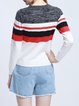Gray Color-block Crew Neck Casual Knitted Cotton-blend Sweater