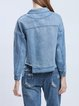 Blue Long Sleeve Embroidered Shirt Collar H-line Cropped Jacket