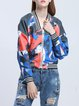 Long Sleeve Stand Collar Casual H-line Printed Bomber Jacket