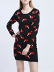 Long Sleeve Casual Crew Neck H-line Cotton-blend Printed Mini Dress