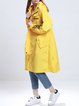 Yellow Long Sleeve Polyester Printed Letter Coat