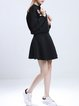 Casual Long Sleeve Stand Collar Appliqued Two Piece Mini Dress