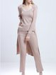 Cotton-blend Casual Long Sleeve Ribbed Three Piece Jumpsuit