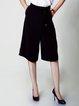 Black Simple A-line Pockets Wide Leg Pants