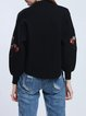 Black Casual Embroidered Cotton-blend Cropped Jacket