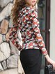 Multicolor Geometric Scoop Neckline Beaded Long Sleeved Top