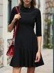 Black Chiffon Solid Casual A-line Mini Dress