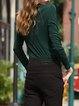 Dark Green Basic H-line Scoop Neckline Nylon T-Shirt
