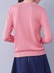 Pink Basic Crew Neck Embroidered Cotton-blend Sweater
