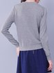 Light Gray Solid Long Sleeve H-line Wool Blend Sweater