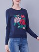 Navy Blue Printed Cotton-blend Basic Sweater