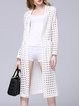 White Casual H-line Plain Cotton-blend Pierced Coat