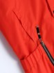 Red Zipper Long Sleeve Polyester Pockets H-line Coat