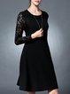 Black Paneled A-line Elegant Midi Dress