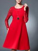 Red A-line Crew Neck Long Sleeve Lace Paneled Mini Dress