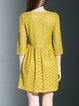 Yellow V Neck Elegant A-line Lace Mini Dress