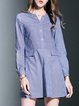 Purple Casual A-line Cotton-blend Printed Stripes Shirt Dress