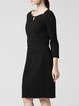 Crew Neck A-line Solid 3/4 Sleeve Simple Midi Dress