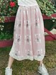 Pink A-line Girly Polyester Lace Paneled Printed Wide Leg Pants
