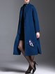 Blue Wool Blend Simple Embroidered H-line Coat with Belt