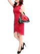Red Appliqued Cowhide Leather Retro Zipper Top Handle