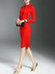 Red Sheath Bow Elegant Plain Midi Dress