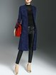 Navy Blue Shift Elegant Jacquard Coat