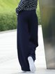 Black Plain Casual Pockets Polyester Wide Leg Pant