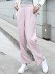 Pink Plain Casual Pockets Wide Leg Pants