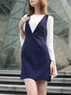 Navy Blue V Neck Shift Spaghetti Plain Mini Dress