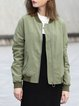 Army Green Casual Stand Collar Zipper Cropped Jacket