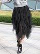Black Plain Casual Asymmetrical Mesh Midi Skirt