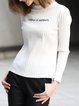 White Letter Printed Knitted Long Sleeve Sweater