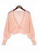 Pink H-line Knitted V Neck Casual Cardigan