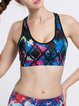 Black-blue Stretchy Wicking Sports Bra