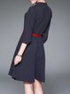 A-line Cotton-blend 3/4 Sleeve Basic Polka Dots Printed Midi Dress