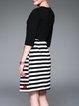 Cute A-line Cotton-blend Crew Neck Half Sleeve Midi Dress