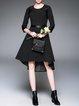 Black 3/4 Sleeve A-line Paneled Cotton-blend Midi Dress
