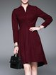 Cotton-blend Casual V Neck A-line Long Sleeve Midi Dress