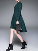 Dark Green Cotton-blend A-line V Neck Casual Midi Dress