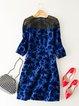 Royal Blue Basic Cotton-blend Crew Neck Paneled Jacquard Mini Dress