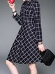 Dark Blue Shirt Collar Checkered Cotton-blend Basic Midi Dress